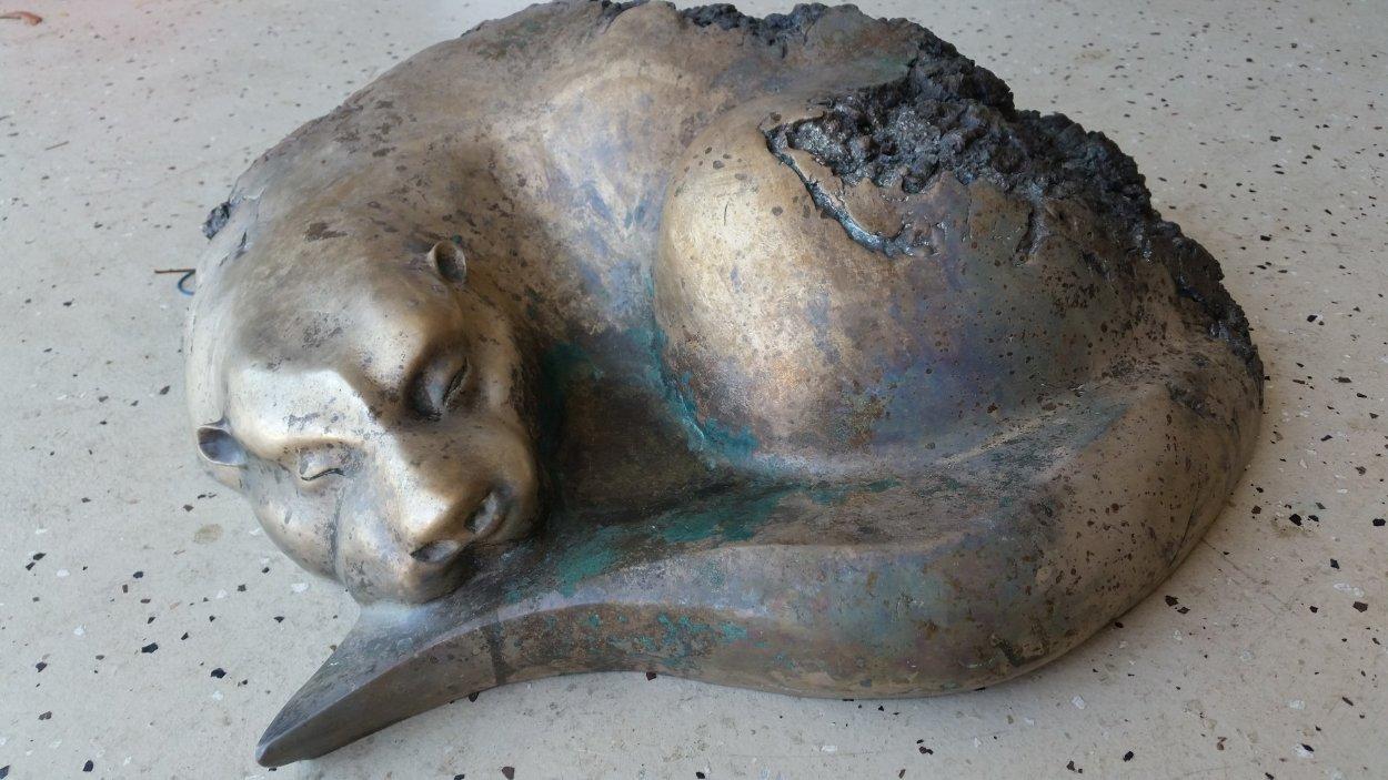 River Siesta - Quiet Otter Bronze Sculpture 24 in Sculpture by Leo E. Osborne