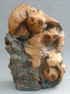 Gathering of Owls Unique Wood Sculpture Sculpture by Leo E. Osborne