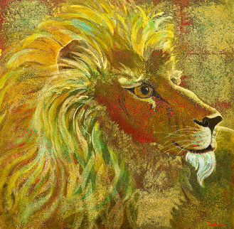 Lion 24x24 Original Painting - Leo E. Osborne