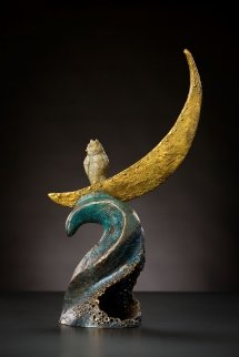Owl Riding The Moon Bronze Sculpture 21 in Sculpture by Leo E. Osborne