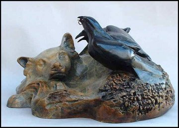 Woodland Spirits Bronze Sculpture 15x12 Sculpture by Leo E. Osborne