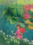 Girl in Pink Dress Picking White Flower  1988 Limited Edition Print - Trinidad Osorio
