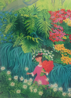 Girl in Pink Dress Picking White Flower  1988 Limited Edition Print by Trinidad Osorio