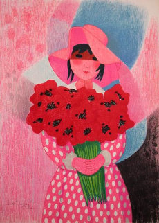 Girl With Flowers Limited Edition Print by Trinidad Osorio
