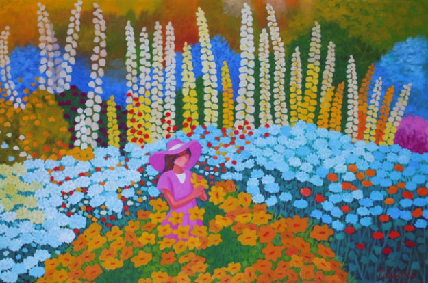 Woman With a Pink Hat in a Field of Flowers 1993 60x85 Original Painting by Trinidad Osorio