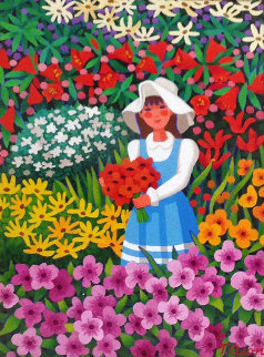 Nina En El Jardin  (Girl in the Garden) 21x25 Original Painting by Trinidad Osorio