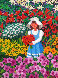 Nina En El Jardin  (Girl in the Garden) 21x25 Original Painting by Trinidad Osorio - 0