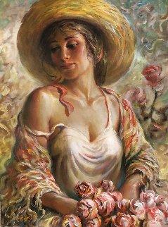 Serenity 23x41 Original Painting - Arkady Ostritsky