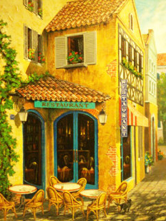 Restaurant Anonyme 1998 36x28 Original Painting by Arkady Ostritsky