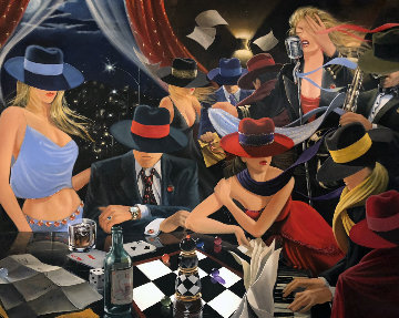Party 2005 52x60 Original Painting - Victor Ostrovsky