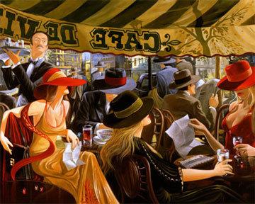 Cafe De Ville Limited Edition Print by Victor Ostrovsky