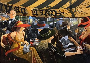 Café Deville 48x60 Original Painting - Victor Ostrovsky