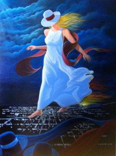 Night Walker 1997 48x46 Huge Original Painting - Victor Ostrovsky