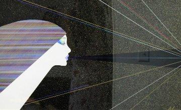 Rainbow Lights 1986 43x32 Original Painting - Hisashi Otsuka