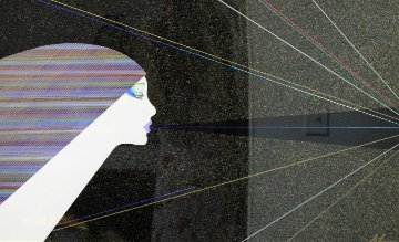 Rainbow Lights 1986 43x32 Super Huge Original Painting - Hisashi Otsuka