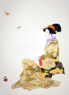 Contemplation 2000 32x23 Original Painting - Hisashi Otsuka