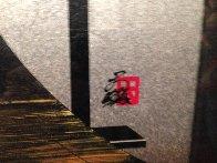 Sunset At Mt. Fuji 34x31 Textile on Wood Rack Original Painting by Hisashi Otsuka - 3