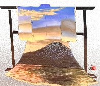 Sunset At Mt. Fuji 34x31 Textile on Wood Rack Original Painting by Hisashi Otsuka - 0