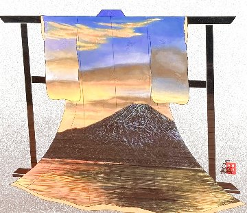 Sunset At Mt. Fuji 34x31 Textile on Wood Rack Original Painting - Hisashi Otsuka