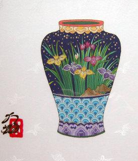 Blue Vase 14x11 Original Painting - Hisashi Otsuka