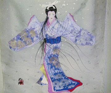 Lady Mieko 1983 29x23 Original Painting - Hisashi Otsuka