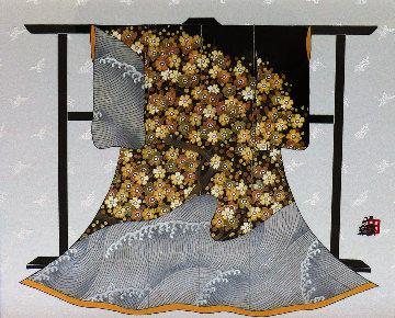Tamesode Kimono (Wave) 2003 17x24 Original Painting - Hisashi Otsuka