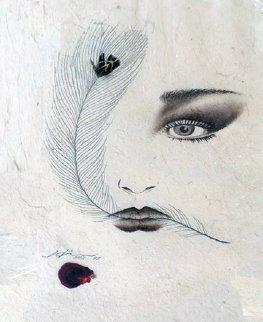 Eyes 1995 20x23 Original Painting - Hisashi Otsuka