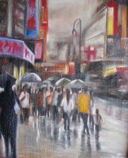 Chinatown Streets I 47x40 Super Huge Original Painting -  Ouaichai