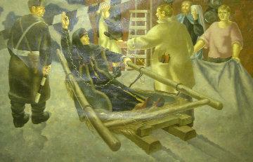 Generalnaya Repetitsia (Boyarina Morozova) 1995 54x79 Super Huge Original Painting - Vladimir Afanasievich Ovchinnikov