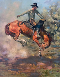 Muy Bronco 1970 17x14 Original Painting - Bill Owen