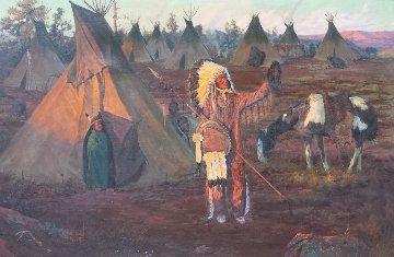 Work of Big Medicine 1971 32x44 Original Painting - Bill Owen