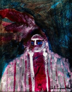 Indian Chief 2002 20x17 Original Painting - Pablo Antonio Milan