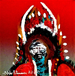 Buffalo Warrior 7x8 Original Painting - Pablo Antonio Milan