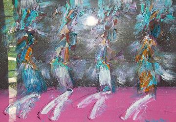 Kachina Dancers 1988 30x42 Original Painting - Pablo Antonio Milan