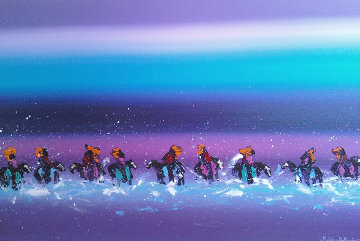 Western Landscape With Riders 1990 22x40 Original Painting - Pablo Antonio Milan