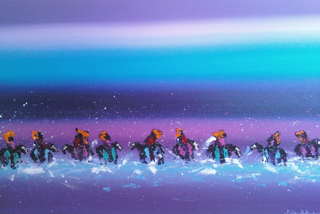 Western Landscape With Riders 1990 22x40 Original Painting by Pablo Antonio Milan