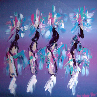 Kachina Dancers 1991 37x48 Super Huge Original Painting - Pablo Antonio Milan