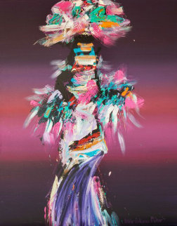 Kachina Dancer 1980 50x40 Super Huge Original Painting - Pablo Antonio Milan