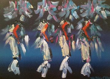 Kachina Dancers 30x40  Huge Original Painting - Pablo Antonio Milan