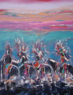 Turquoise Sunset 1998 40x30 Super Huge Original Painting - Pablo Antonio Milan