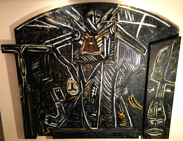 Untitled Painted Life Size Wall Sculpture 1985 85 in Original Painting by Mimmo Paladino