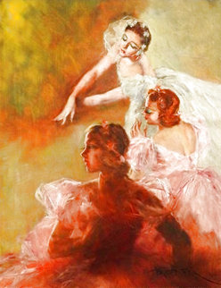 Three Ballerinas 29x23 Original Painting - Pal Fried