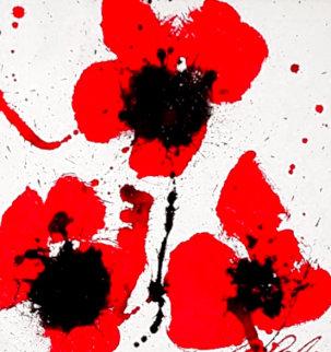 Poppy Bunch XII 2014 21x21 Original Painting - Dominic Pangborn