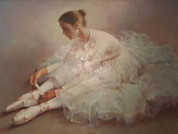 Untitled Dancer Tying Slipper 2000 38x48 Super Huge Original Painting - Stephen Pan