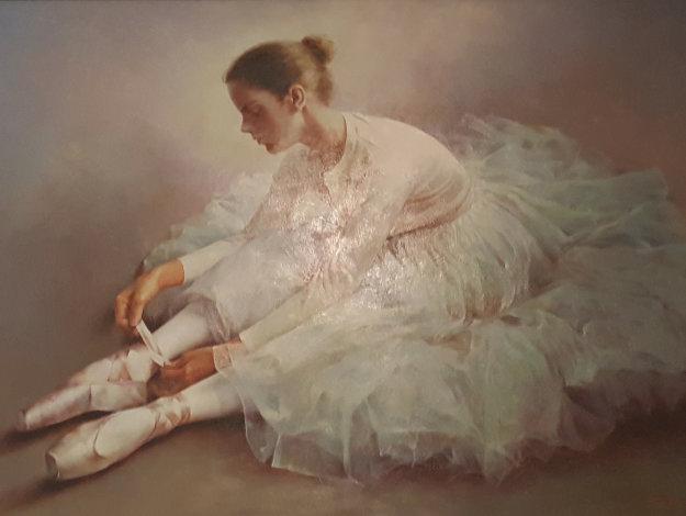 Untitled Dancer Tying Slipper 2000 38x48 Original Painting by Stephen Pan
