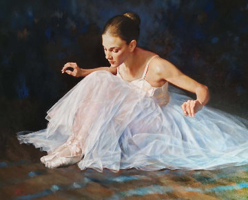 Seated Ballerina 38x48  Original Painting by Stephen Pan