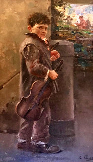 Untitled Boy with Violin 37x22 Original Painting - Giovanni Panza
