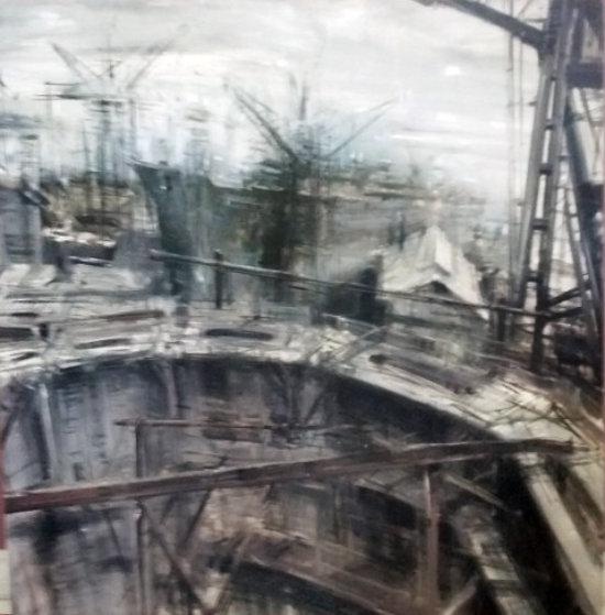 Bacino Di Carenaggio 2004 39x39 Original Painting by Alessandro Papetti