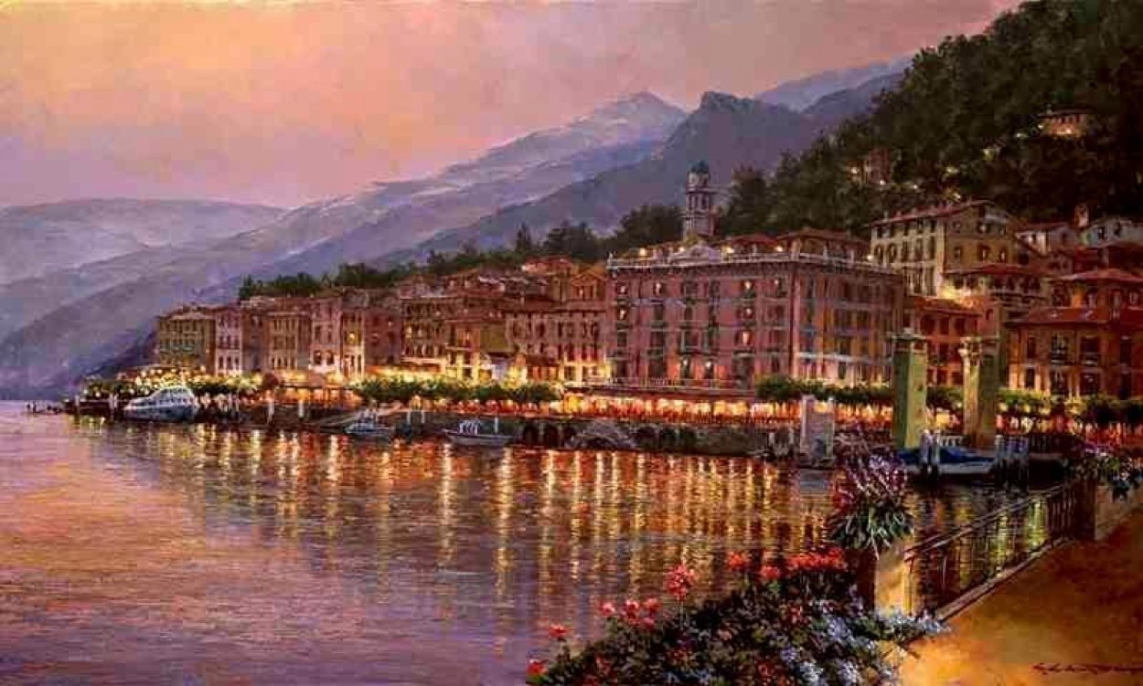 Bellagio Twilight Lake Como Embellished 2010 Limited Edition Print by Sam Park