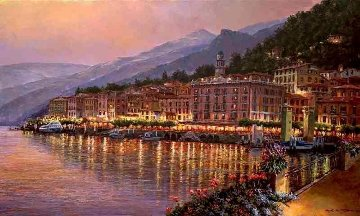 Bellagio Twilight Lake Como Embellished 2010 Limited Edition Print - Sam Park